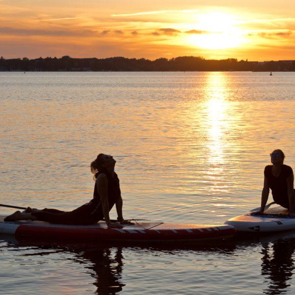 auf dem SUP-Board zum Sonnenuntergang an der Müritz